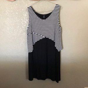 Style & Co. XL Petite Black/White Sleeveless Dress